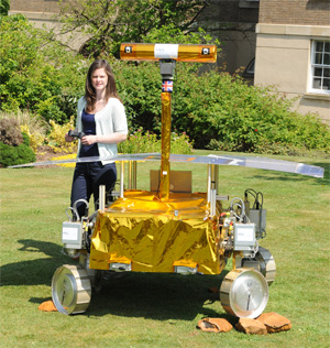 Jess with a prototype Mars rover