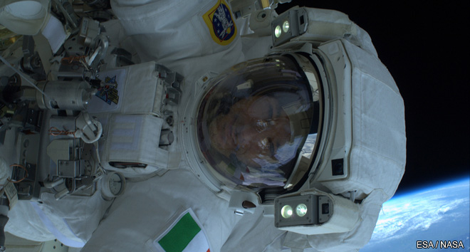 ESA astronaut Luca Parmitano during his first spacewalk outside the International Space Station on 9 July 2013